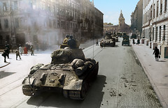Soviet T-34 tanks on the streets of Lvov, 1944 | Львов, 1944 (klimbims) Tags: wwii ww2 recoloured redarmy lvov великаяотечественнаявойна краснаяармия т34 t34 tank panzer