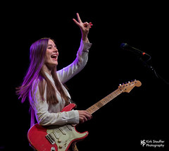 Margaret Glaspy @ Triple Door (Kirk Stauffer) Tags: kirk stauffer photographer nikon d5 adorable amazing attractive awesome beautiful beauty charming cute darling fabulous feminine glamour glamorous goddess gorgeous lovable lovely perfect petite precious pretty siren stunning sweet wonderful young female girl lady woman women live music tour concert show stage gig singer vocals musician band lights lighting indie pop long brown hair red lips blue eyes white teeth model tall fashion style portrait photo smile playing electric guitar fingers flashing peace sign symbol