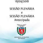 Sessão Plenária e Sessão Plenária Antecipada 18/09/2018