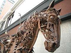Art in Motion ... YYC (Mr. Happy Face - Peace :)) Tags: art2018 metallic art horse calgary alberta canada sculpture scrap metal reuse recycle junk