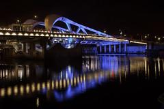 New Blue (vanessa_macdonald) Tags: blue bridge night life nightlife urban water reflections britishcolumbia vancouverisland canada longexposure longexpo nightphotography