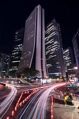 Nishi Shinjuku - Tokyo, Japan (inefekt69) Tags: japan tokyo shinjuku nishishinjuku nikon d5500 日本 東京 新宿 西新宿 night neon street lighttrails traffictrails longexposure buildings tumblr