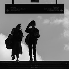 up and down (every pixel counts) Tags: 2018 berlin station capital city schönhauserallee europa everypixelcounts blackandwhite 11 stairs square germany berlinalive people street bw women eu sign bag day backlight bolsa blackwhite bn back daylight lettering