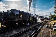 Blowing off (Peter Leigh50) Tags: steam locomotive loughborough big 8 8f 280 train track transport sky sunshine sunlight railway railroad rail great gcr central