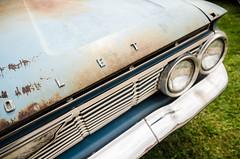 O L E T (GmanViz) Tags: gmanviz color car automobile vehicle detail chrome nikon d7000 1961 chevrolet belair hood grille headlights bumper patina letters