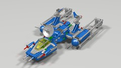Flying his Y-Wing (hornjesse896) Tags: legostarwars lddtopovray classicspace benny astronaught astromechdroid bb starfighter ywing