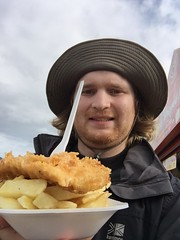 An delicious fish and chips (maskedlion3) Tags: britishfood bankholidaymonday seaside skegness fishandchips handsomeman selfie