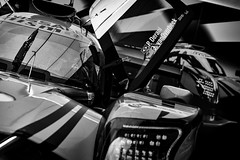 Nismo Graphics (speedcenter2001) Tags: elkhartlake wi usa imsa sportscar motorsports racing race racecar racetrack roadamerica wisconsin rennsport monochrome noiretblanc schwarz weiss silverefexpro2 silverefex nikon70300mmgvr sep2 garage paddock