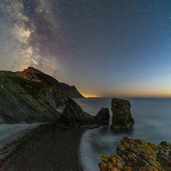 'Starry Stacks' (Kristofer Williams) Tags: night sky stars landscape nightscape coast beach seastacks rockstacks garnfor wales milkyway astro astrophotography twilight sea water cliffs trefor
