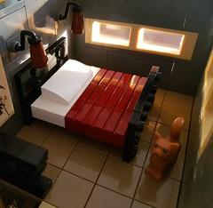 Blue Striped House MOC. Master bedroom in sunlight. (betweenbrickwalls) Tags: lego afol moc legomoc furniture design legofurniture interior interiorphotography