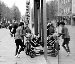 When you bump into yourself (WorcesterBarry) Tags: street places candid reflections bw crowds love england shopping hanks much apprecaited