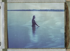 Cora in the creek (Dear Deer Fine Art) Tags: polaroid analog expired film largeformat