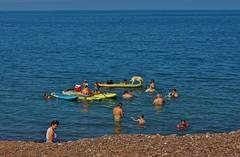 Very Hot Day on the Beach (chumlee10) Tags: lakesuperior little girl littlegirlspoint michigan beach rock sand people hot sun