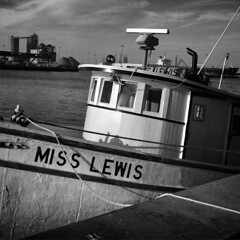 Miss Lewis (tim.perdue) Tags: miss lewis boat sea cabin dock ocean port canaveral fishlips bar grill black white bw monochrome vessel iphone instagram mobile iphoneography