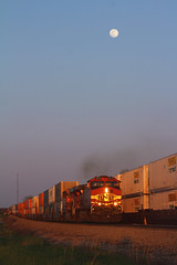 Battling Up Grade Beneath the full Moon (Spencer T. Whitman) Tags: full moon sky train railroad grade trains locomotives