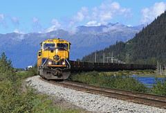 4 years and a day ago (GLC 392) Tags: alaska tags railroad arr 4014 4005 4007 4011 4003 4012 coal train brookman turnagain arm water emd sd70mac mountains portage outdoor landscape mountainside vehicle mountain hill