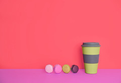 Cup of coffee to go with macaron on yellow and pink background (niekrasova) Tags: copy art away bakery beautiful biscuits breakfast cafe cake cappuccino card coffee colorful creamy cup dessert drinking flat flavored food french fresh good greeting kitchen latte space layout lifestyle light love macaron macaroon meringue morning mug text yellow pastel pastelbackdrop pink take takeaway togo top trend view vintage woman