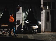 (JanuaryJim) Tags: street norway bergen orange scooter light fujifilm shadow outside