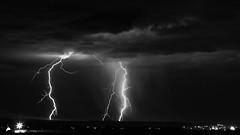 Visitors (agavephoto) Tags: lightning 169 storm rain dark monsoon newmexico bolt flash strikefineart blackandwhite bw