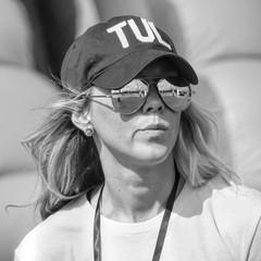 Keen Eye (clarkcg photography) Tags: woman blonde shades sunglasses reflection cap baseballcap tul tulsa festival volunteer worker blackandwhite blackwhite bw portrait candid