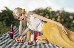 Summertime Revivial (Elle & Emma) Tags: poppy parker baby its you integrity toys jason wu photoshoot miniatures miniature diorama picnic summer food drinks sky blue yellow skirt clouds blonde model doll dolls 16 scale