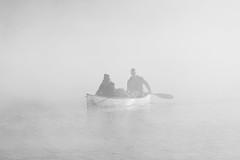 Canoe in the mist (Dazarazmataz) Tags: lakeoftworivers canoe mist misty fog foggy morning peaceful people portrait nature lake highkey water candid nikon sunrise naturephotography algonquin canada ontario