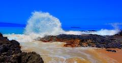 Pa'ako Beach (Secret Cove) (Kirt Edblom) Tags: maui mauihawaii hawaii makena makenaalanuiroad secret beach cove wife water waves waterscape landscape rocks gaylene lava lavaflows milf blue bluesky bluewater sand scenic serene breakers soft pacific pacificocean ocean kirt kirtedblom edblom easyhdr luminar nikon nikond7100 nikkor18140mmf3556 molokini kahoolawe islands sky rock wave