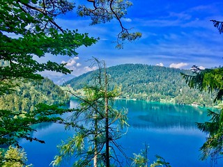 Hintersteiner See from an elevated viewpoint in the forest near Kufstein in Tyrol, Austria