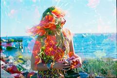 Joanne of Flowers (Mark Klotz) Tags: myloveisflowers meinhonighaschen mylove joannewhite doubleexposure kodakportra400 film analog ishootfilm ilovefilm artisticphotography beautifulwoman westvancouver ambleside amblesidebeach canada summer nasturtium beauty