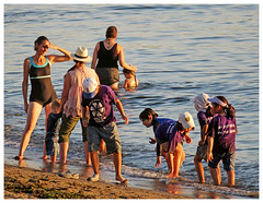 Moms and Kids at the Beach (HereInVancouver) Tags: women children momsandkids beach water ocean pacific englishbay sand bathingsuits vancouverswestend thingstodobythewater canong3x vancouver bc canada summertime outdoors city urban