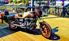 Eye-catcher on the Pier at Wallace Shipyard Square (peggyhr) Tags: peggyhr motorcycle ornate dsc00436xy longpier northvancouver shipyards bc canada lordsofgastown simpson