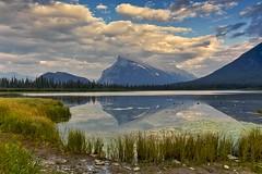 Vermillion Lake Mount Rundle (John Andersen (JPAndersen images)) Tags: alberta banff canada canon clouds grass gulls mountrundle park reflection summerpanorama vermillionlake