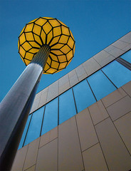 The golden lamp (jefvandenhoute) Tags: light lines shapes geometric abstract gold golden lamp blue