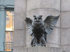 Owl Statue Next to Herald Square Clock 0053 (Brechtbug) Tags: the owls what they seem owl statue with non glowing green eyes next herald square clock cornice from old new york building near macys 33rd 6th avenue commissioned french sculptor antonin jean paul carles features stately that edged rest rooftop were electrified their glass glowed blinked time hammered toning hours city 09032018 sixth 2018 twin peaks type mystery bird birds after empire state