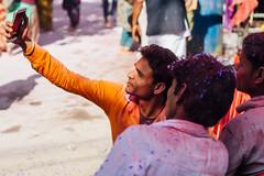 Men in Holi Gulal Taking Selfie, Vrindavan India (AdamCohn) Tags: abeer adamcohn hindu india vrindavan gulal holi men pilgrim pilgrimage selfie अबीर गुलाल होली