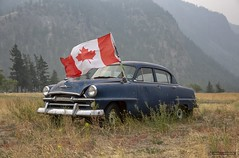 Plymouth (Clayton Perry Photoworks) Tags: bc canada explorebc explorecanada summer smoke hedley flag plymouth old rusty chrysler