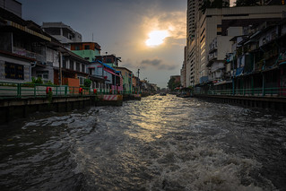 Sunset over the canals of Bangkok, Thailand