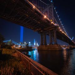 The Manhattan Bridge and Tribute in Lights from DUMBO (rjdibella) Tags: night usa worldtradecenter newyorkcity tributeinlights newyork 2012 manhattan summer nyc wtc unitedstates us