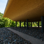 Walking space under the architecture. Stones and