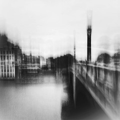 The bridge II b&w (Zara.B) Tags: bridge river riverbank thames blackandwhite bw blur bnw motionblur intentionalcameramovement icm iphone impressions light dark slowshutterapp experimenting abstract