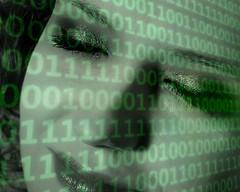 Binary woman. Do humanoid robots dream? (posterboy2007) Tags: bot robot code binary zero one woman ai fx humanoid green schoolgirl