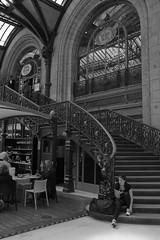 Staircase leading to Le Train Bleu (kevertonphoto) Tags: garedelyon letrainbleu stationcafe paris france ef35mmf14lusm blackwhite