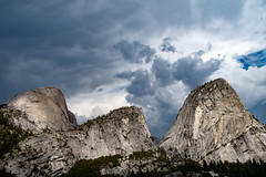 Rain Clouds Moving in on Half Dome and Liberty Cap