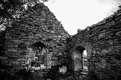 Killaghtee Old Church, Cemetery, and Ancient Stone Slab Cross (Greg Carey) Tags: donegal ulster ireland wildatlanticway coast blackandwhite