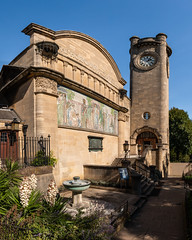 Horniman Museum (Keith in Exeter) Tags: horniman museum london building architecture tower mural mosaic victorian garden tree fountain fence steps path sky clock