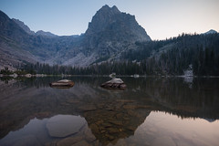 Sunrise On Elbow Lake. Absaroka-Beartooth Wilderness, Mont. (Aug. 19, 2018) (Thomas Cluderay) Tags: montana montanamoment 406 publiclands outdoors nature photography beartooths absarokabeartoothwilderness wilderness nationalforest gallatinnationalforest hiking camping backpacking optoutside canon canon6d landscape landscapephotography elbowlake mtcowen reflection alpine lake sunrise zen