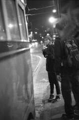 . (m_travels) Tags: candid woman girl muni sf tram bus commute everyday street kodaktmax3200 nightphotography blackandwhite плёнка film 35mmfilm grain style analog argentique peopleofsanfrancisco