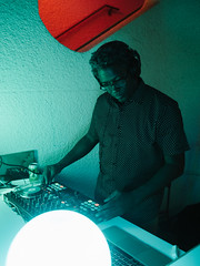 DJ (BurlapZack) Tags: olympusomdem5markii olympusmzuiko17mmf18 vscofilm pack07 dallastx oakclifftx texastheatre oakclifffilmfestival ocff dj deejay music spinning availablelight lowlight highiso handheld portrait green red bokeh dof microfourthirds