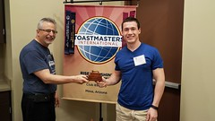 Rise and Shine Toastmasters best Table Topics speaker and Sparkplug award winner on Saturday, Aug. 25, 2018. (Rise and Shine Toastmasters) Tags: toastmasters leadership publicspeaking confidence mesa arizona saturday fun excitement training friendship networking