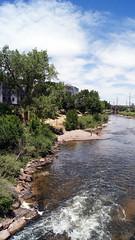 Just Down the River (dssken) Tags: ifttt 500px dotstarstudios nature outdoors river sunshine riverbank rocks water horizon lush greenery platte colorado landscape summer
